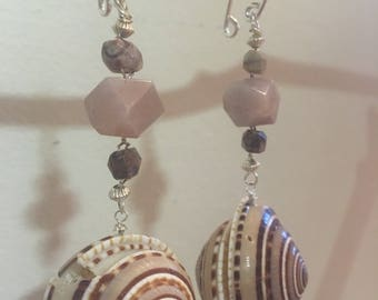 Tunnel earrings in shell, sunstone, and sterling