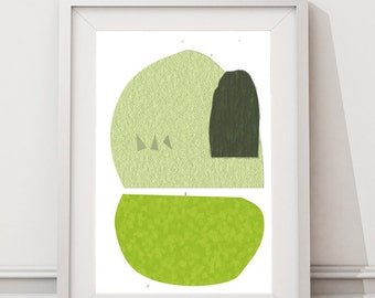 Mid Century Modern Abtract Geometric Art,Printable Art, Instant Download Large Art Print,  Scandinavian Abstract Shapes Avocado and Grey