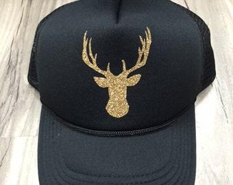 Glitter Deer Head Trucker Hat Unisex Hat Mesh Camping Desert Riding Country Women's