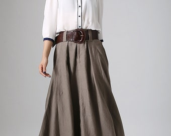 Long linen skirt, maxi skirt for women, brown skirt, pleated skirt, casual skirt, skirt long, skirt linen, custom skirt, plus skirt 905