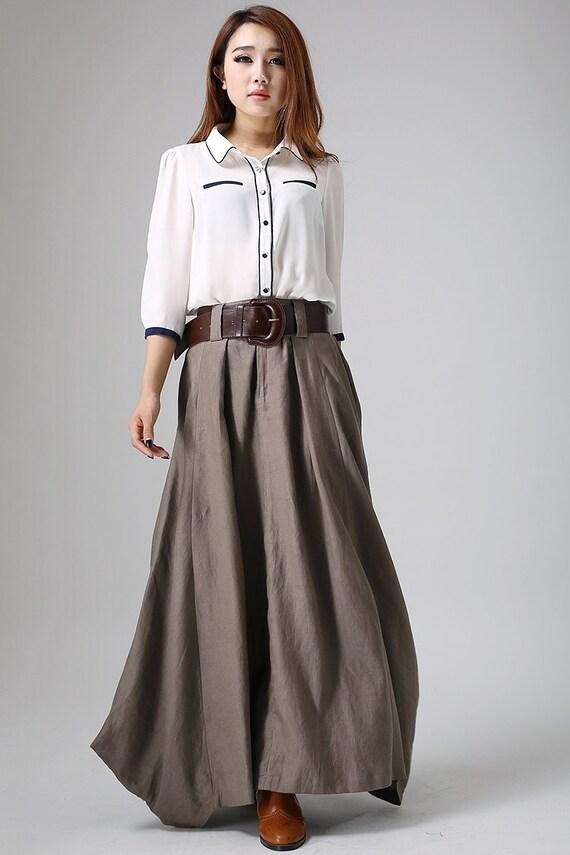 jupe longue en lin jupe maxi pour les femmes jupe marron. Black Bedroom Furniture Sets. Home Design Ideas