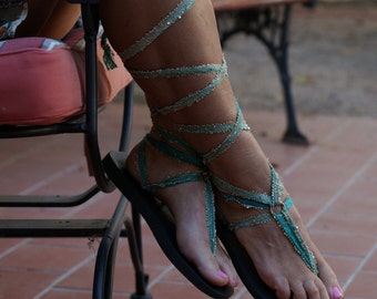 Jade Green Knee high Lace Up Gladiator Sandals. So Boho Glam.