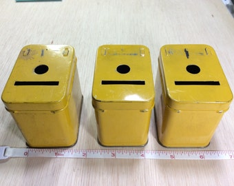 Vintage Three Extra Yellow Add A Bank Tins Used