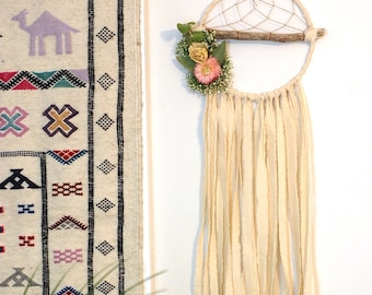 RESERVED- Set of 8 Ivory Branch Dream Catchers with Dried Flowers