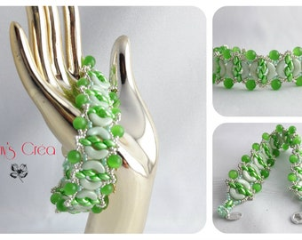 """Bracelet """"Green water"""" made by weaving needle with glass beads"""