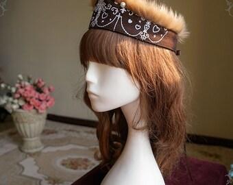 Exclusive Steampunk Milliner Steel Rose, Elegant Gothic Russia Kokoshnik Crown Wool Hairdress band