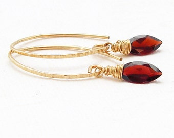Red Garnet Earrings Gold plated, golfilled, gemstone earrings, Marquis cut