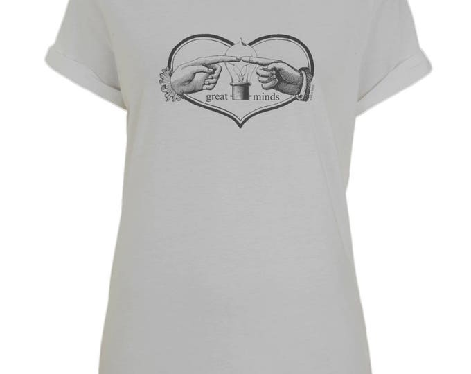 Great Minds Hands With Light Bulb And Heart Womens Boyfriend Style Organic Cotton T-Shirt. Rolled Up Sleeves. Grey.