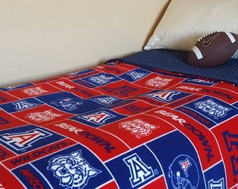 University of Arizona Blanket Adult Minky and Fleece Throw Gift for Husband Dad Brother Son College Graduate Wildcats Dorm Bedding