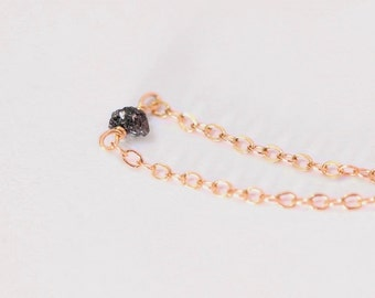 Black Raw Diamond Necklace - rose gold filled raw diamond necklace, rough diamond necklace, versatile and minimal layer necklace