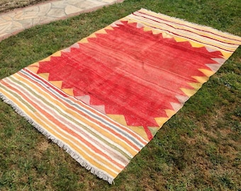 """Vintage Turkish kilim rug, 88"""" x 60.5"""", red area rug, kilim rug, solid rug, vintage rug, bohemian rug, Turkish rug, small rug, kilim, 235"""