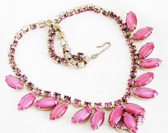 Pink Milkglass Choker Necklace
