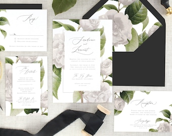Botanical Wedding Invitations Printed - White Floral Wedding Invitation Suite Wedding - Printed Wedding Invitation Greenery - Set of 10