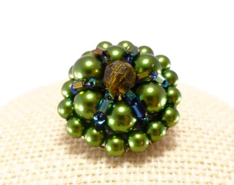 Vintage green cluster bead clip on earrings - green pearlescent, black aurora borealis bugle, green faceted acrylic