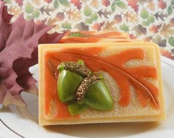 Oak Leaf and Acorn Fall Soap - Artisan Soap - Glycerin Soap - Goats Milk Soap - Handmade Soap - Thanksgiving Soap Favor - Soap for Autumn