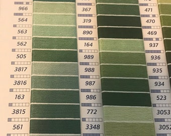 DMC Embroidery Floss Various Greens - 5