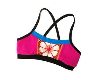 Pink Flower Power Sports Workout/Swim Bra