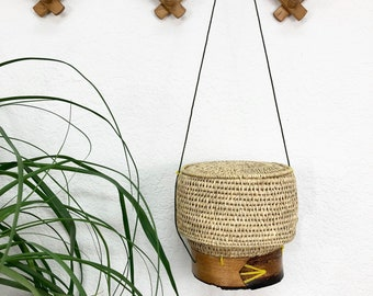 Unique Hanging Woven Seagrass Basket with Lid / Basket with Wood Base / Storage Basket on String