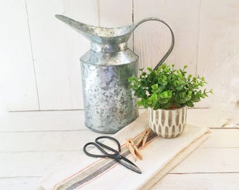 Vintage Inspired,Tall Metal Pitcher, Galvanized Pitcher ,Farmhouse Pitcher ,Kitchen Decor, Vintage,Pitcher ,Farmhouse Decor ,Cottage Decor