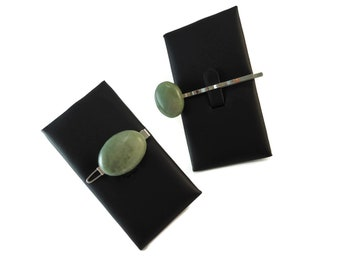 Set of Two Green Rock Hair Clips for Women, Natural Stone Hair Accessories, Green Stone Barrette and Bobby Pin Set, Small Gift Idea for Her
