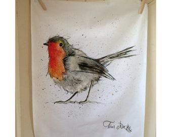Robin Tea Towel, 100% Cotton, Country Kitchen, Kitchen Towel, Bird Gift, Housewarming Gift, Birthday Gift