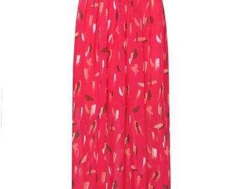 cherry rose pleated maxi skirt,printed maxi skirt, womens skirts.