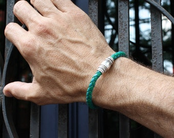 Green Leather Bracelet with Magnetic Clasp / Woven Leather Cord Wristband for Men and Women / Skye