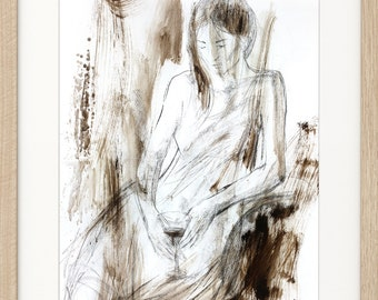 Woman Sketch, Original drawing, Charcoal drawing, Figurative sketch, Graphic art, Glass of wine, Modern artwork, Female Wall art sketch