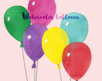 Watercolor Balloons Clip Art Clipart