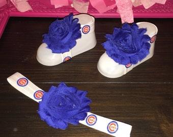 Chicago Cubs Headband & Barefoot Sandals, Baseball, Cubbies, Shabby, Bow