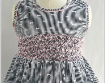 Gorgeous black and white checked hand smocked dress