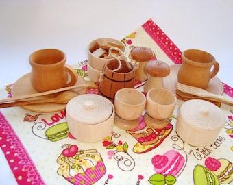 Wood kitchen set (19pcs). Wood play food set. Teatime set. Wooden toys.
