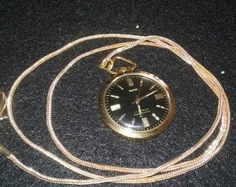 Vintage style HMT 17 jewels para shock gold plated pocket watch