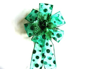 Green glitter Christmas bow, Gift wrapping decoration, Large bow for Christmas wreaths, Holiday tree bow, Large Christmas gift bow,  (C508)