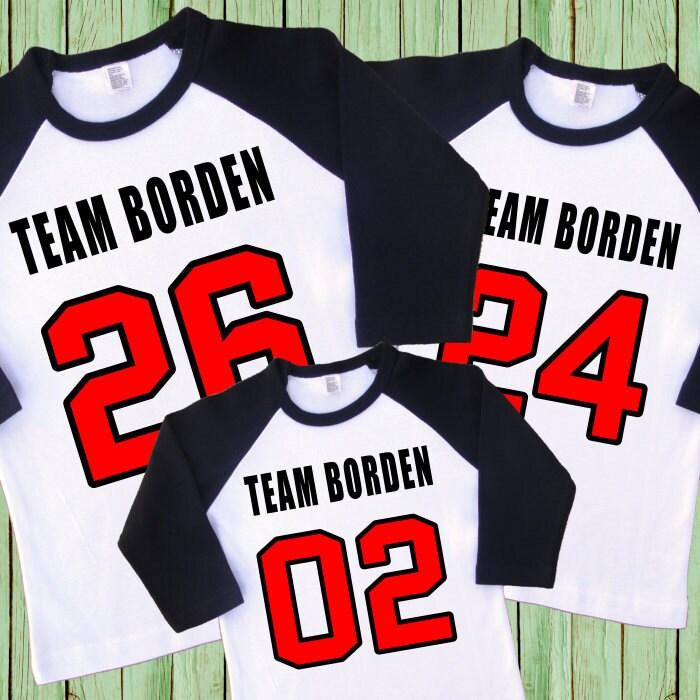 Jerseys del equipo de la familia. Camisas del equipo de la