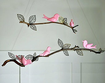 Nursery Mobile - DIY - 5 Hand Carved Birds Ready to Finish YOUR WAY - Baby Nursery Mobile - Christmas Ornaments - Furniture Decor