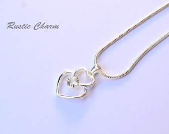 Silver Plated Double Heart Pendant Necklace With White Topaz Crystal for April Birthstone