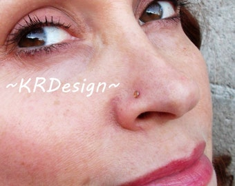 """Sterling Silver-14K Gold-Swarovski Crystal-""""Champagne""""-Nose Stud-Tragus-Earrings-Customized / Free US Shipping"""
