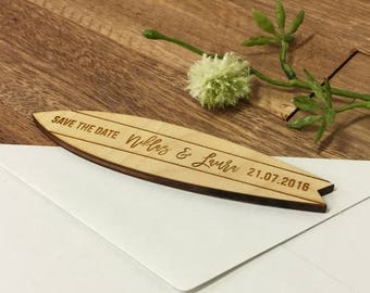 Wooden Save the Date Magnets, Custom Engraved, Surfboard Shape for Beach Wedding or Destination Wedding