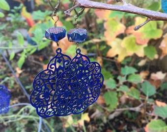 Cobalt Patina India Style Filigree and Czech glass Dangle Earrings  Bohemian Jewelry