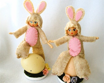 Bunny Bendy Doll,  Bendable Art Doll,  Halfpenny Figure,  Bunnies and Eggs