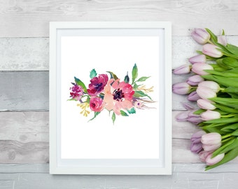 Watercolour Flower  8 x 10, Printable Wall Art, Digital Art, Digital Print, Instant Download