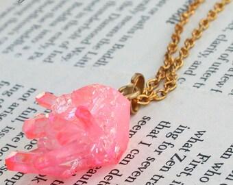 Rose Quartz Crystal Cluster Necklace / Angel Aura Quartz Cluster Necklace / Crystal Cluster / Rose Quartz Necklace / Raw Pink Rose Quartz