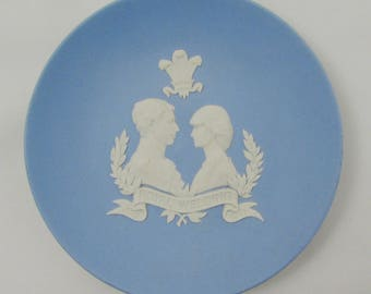 Wedgwood Royal Wedding Trinket Dish, Charles and Diana, Blue and White, Vintage Wedgwood, Made in England, Trinket Tray, Pin Dish, 4 Inches