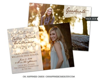 Simple and Classic Photo Graduation Card- College or High School, Invitation, Announcement // Digital or Printed (FREE SHIPPING)