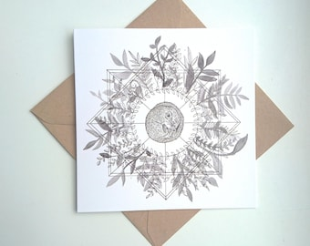 Dormouse || Square Greetings Card