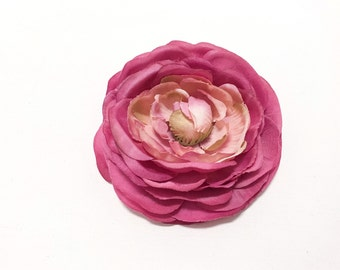 Jumbo Artificial PINK Ranunculus - 4 Inches - Artificial Flower, Silk Flower, Wedding Flowers, Hair Accessories, Flower Crown, Millinery