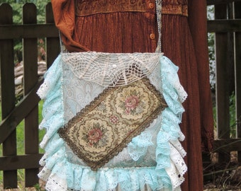 Victorian bag, French Country, Hippie bag, Shabby Chic bag, Cross body bag, Goth bag