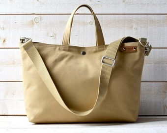 Sand canvas tote bag, Carry all,Messenger bag, Work bag, Leather straps, Travel bag, Zipper and 2 Pockets