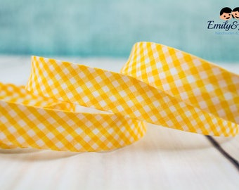 Bias tape vichy checked yellow white 20mm, 1,09 yards per piece